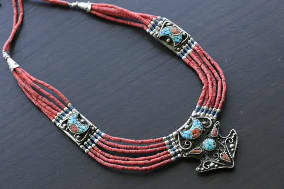 Coral Turquoise Reversible Tibetan Necklace - AristaBeads Jewelry - 1