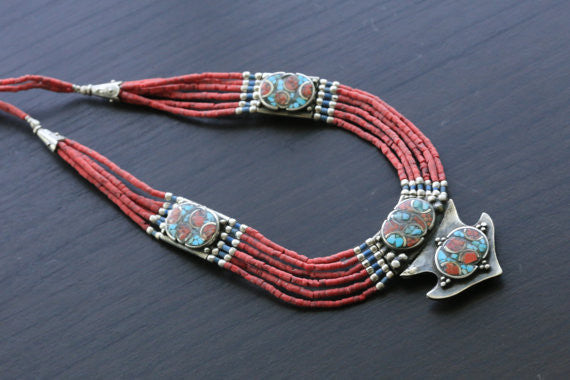 Coral Turquoise Reversible Tibetan Necklace - AristaBeads Jewelry - 4
