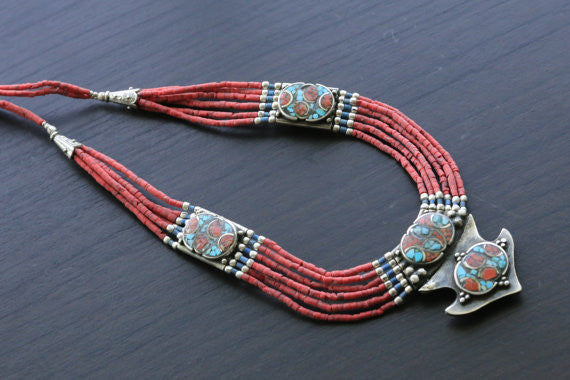 Coral Turquoise Reversible Tibetan Necklace - AristaBeads Jewelry - 3