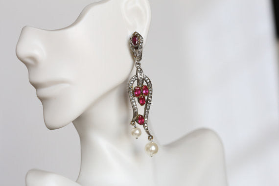 Victorian CZ Bridal Earrings - AristaBeads Jewelry - 3