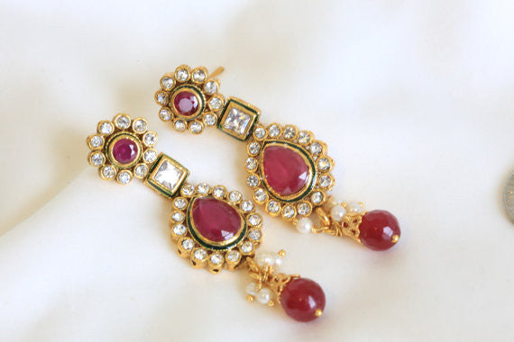 Ethnic Kundan Earring in 4 colors - AristaBeads Jewelry - 1