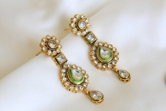 Ethnic Kundan Earring in 4 colors - AristaBeads Jewelry - 2