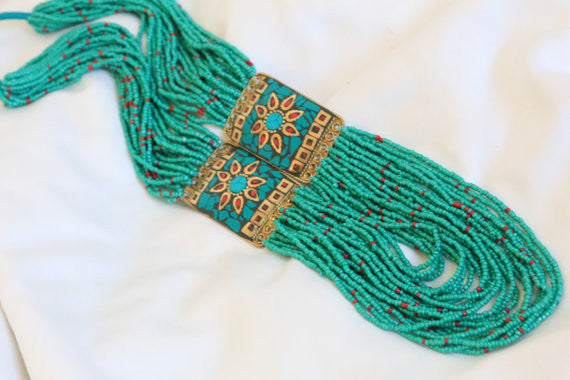 Turquoise coral tibetan necklace - AristaBeads Jewelry - 4