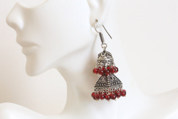 Layered Oxidized Jhumka -Assorted colors - AristaBeads Jewelry - 5
