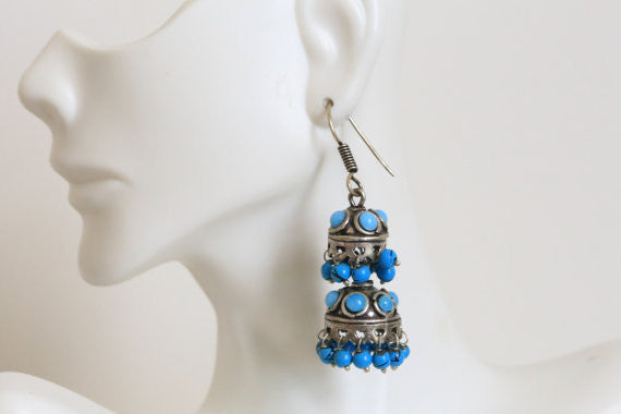 Layered Oxidized Jhumka -Assorted colors - AristaBeads Jewelry - 2