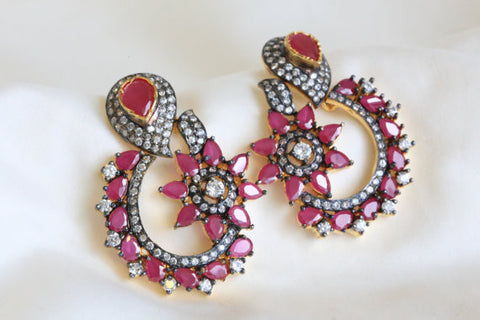 Designer Ruby CZ Earrings - AristaBeads Jewelry - 1