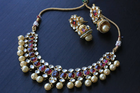 Jadau Kundan Necklace Set With Pearl Drops - AristaBeads Jewelry - 1