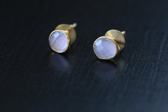 Cute Rose Quartz Stud Earrings - AristaBeads Jewelry - 1