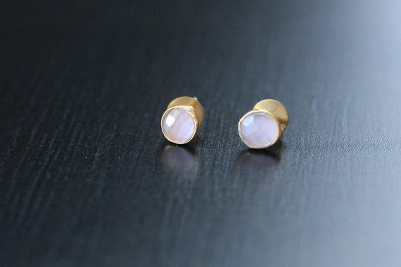 Cute Rose Quartz Stud Earrings - AristaBeads Jewelry - 2