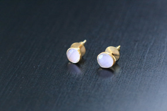 Cute Rose Quartz Stud Earrings - AristaBeads Jewelry - 3