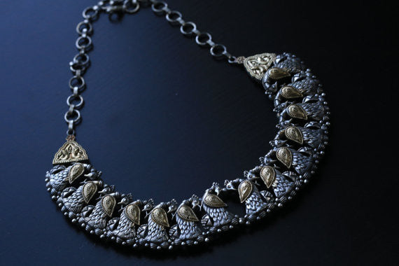 Dual Tone Peacock Necklace - AristaBeads Jewelry - 4