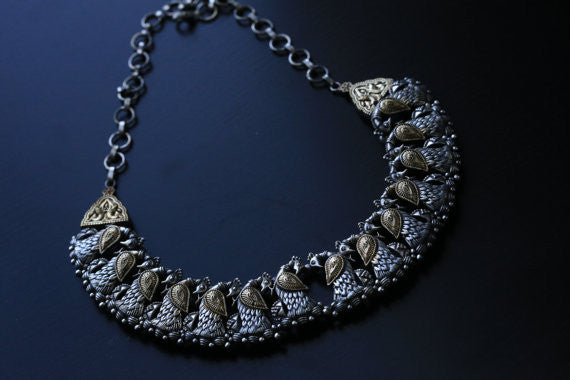 Dual Tone Peacock Necklace - AristaBeads Jewelry - 3