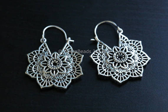 White Brass Mandala Tribal Earrings