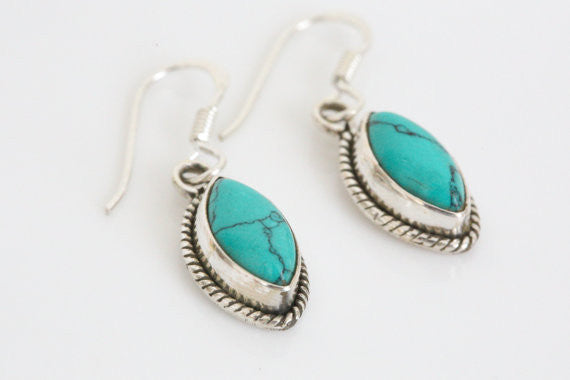 925 Turquoise Earrings - AristaBeads Jewelry - 1