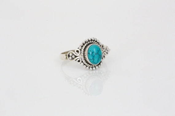 Sterling Silver with Turquoise Stone Ring - AristaBeads Jewelry - 1