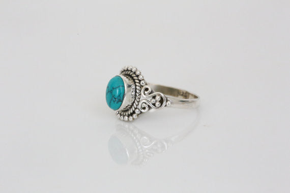 Sterling Silver with Turquoise Stone Ring - AristaBeads Jewelry - 3