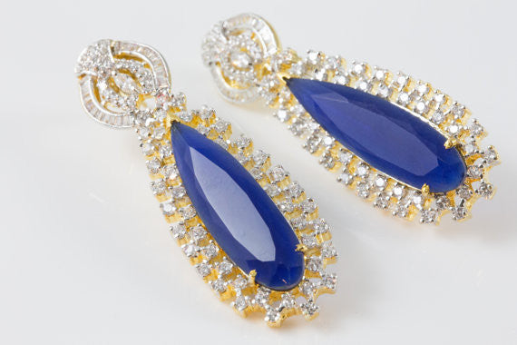 Designer Sapphire Blue CZ Earrings - AristaBeads Jewelry - 2