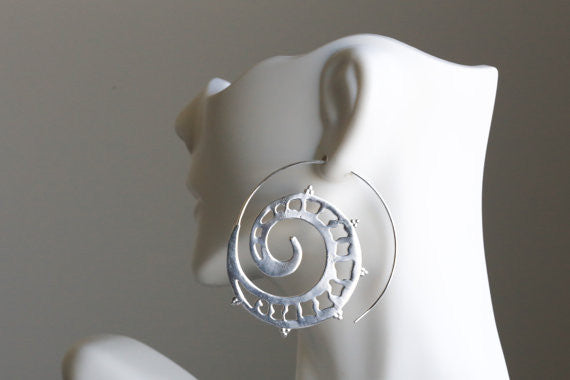White Brass Spiral Earrings