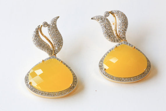 Designer Yellow CZ Earrings - AristaBeads Jewelry - 2