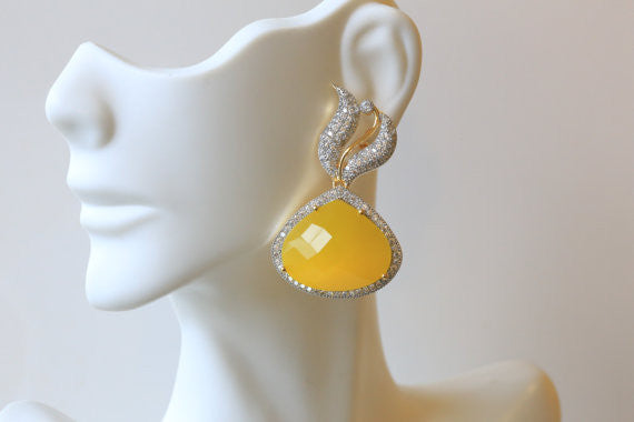 Designer Yellow CZ Earrings - AristaBeads Jewelry - 1