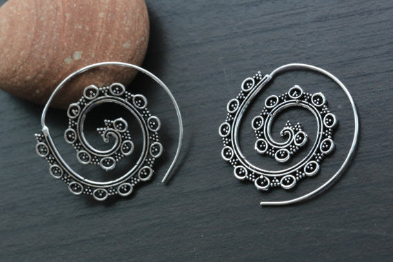 White Brass Tribal Spiral Hoops