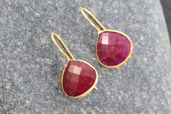 Faceted Ruby Earrings - AristaBeads Jewelry - 1