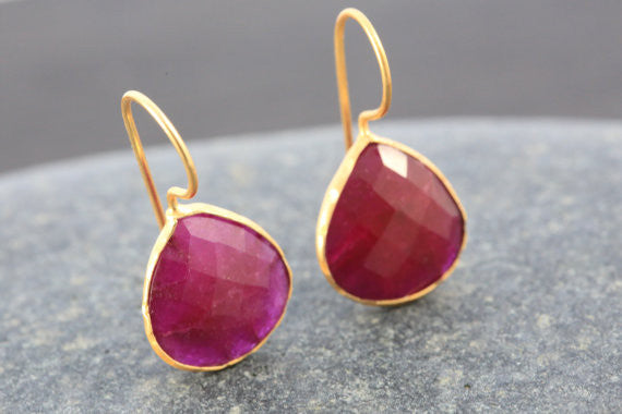 Faceted Ruby Earrings - AristaBeads Jewelry - 3