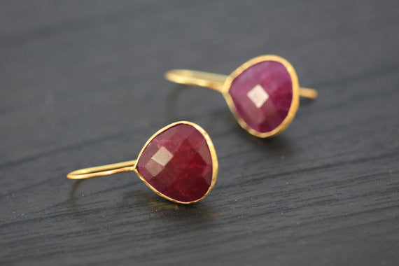 Faceted Ruby Earrings - AristaBeads Jewelry - 2