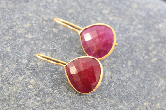 Faceted Ruby Earrings - AristaBeads Jewelry - 4