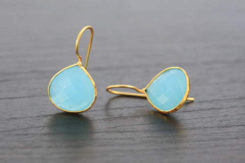 Chalcedony Aqua Earrings - AristaBeads Jewelry - 1