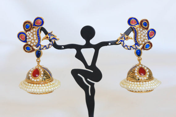 Peacock Antique Gold Jhumka - AristaBeads Jewelry - 2