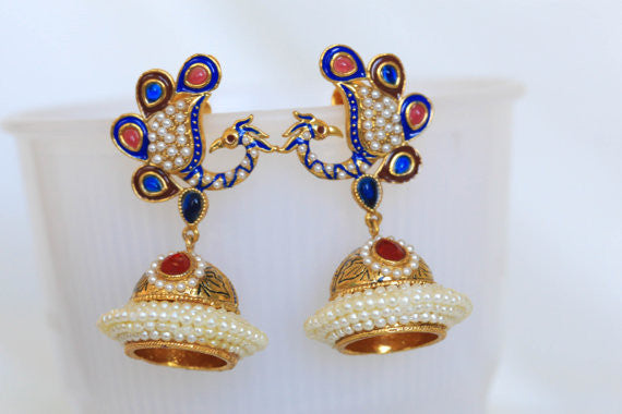 Peacock Antique Gold Jhumka - AristaBeads Jewelry - 3