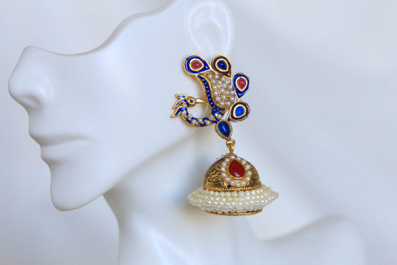 Peacock Antique Gold Jhumka - AristaBeads Jewelry - 1
