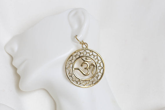 Om Brass Tribal Earrings - AristaBeads Jewelry - 2