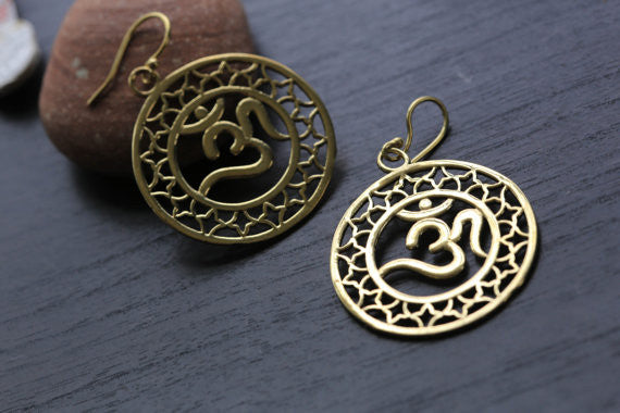 Om Brass Tribal Earrings - AristaBeads Jewelry - 1
