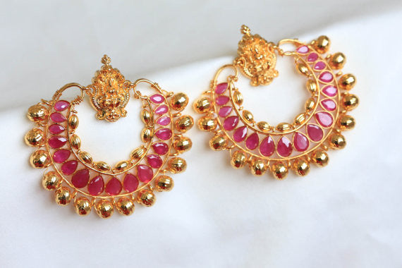Lakshmi Ramleela Chandbali Earrings - Ruby - AristaBeads Jewelry - 1