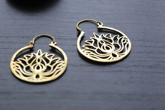 Gold Lotus Brass Hoop Earring - AristaBeads Jewelry - 3