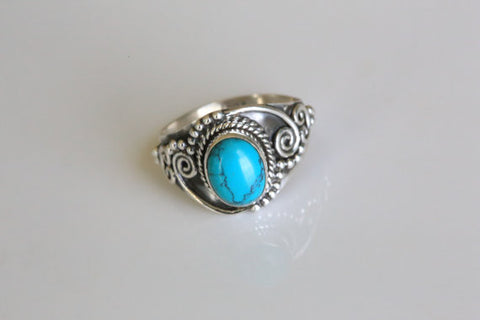 92.5 Sterling Silver with Turquoise Stone Ring
