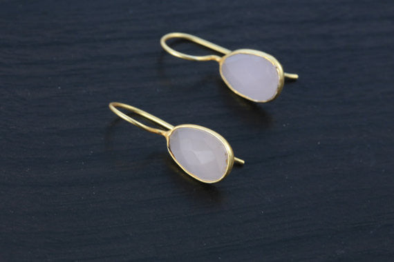 Rose Quartz Bezel Earring - AristaBeads Jewelry - 2