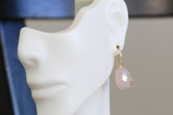 Rose Quartz Bezel Earring - AristaBeads Jewelry - 4