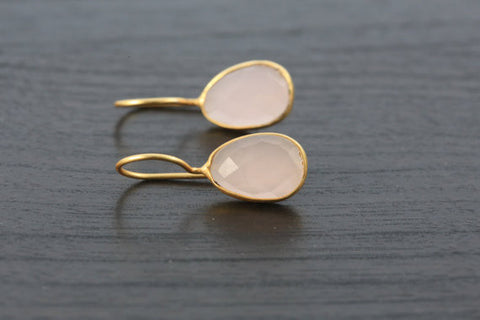 Rose Quartz Bezel Earring - AristaBeads Jewelry - 1