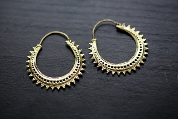 Tribal brass hoop earrings - AristaBeads Jewelry - 1