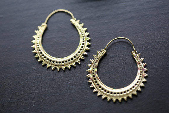 Tribal brass hoop earrings - AristaBeads Jewelry - 3