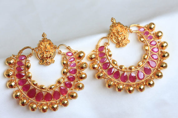 Lakshmi Ramleela Chandbali Earrings - Ruby - AristaBeads Jewelry - 3