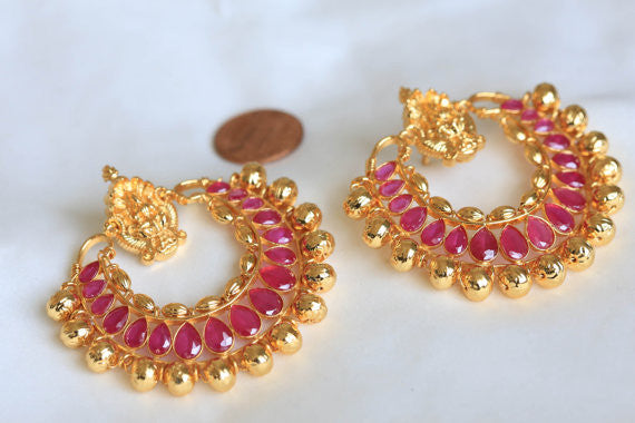 Lakshmi Ramleela Chandbali Earrings - Ruby - AristaBeads Jewelry - 2