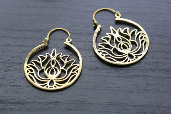 Gold Lotus Brass Hoop Earring - AristaBeads Jewelry - 1