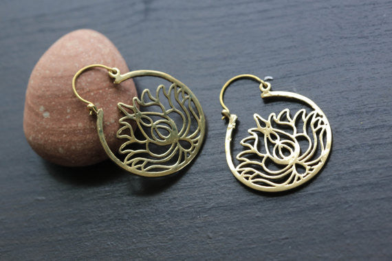 Gold Lotus Brass Hoop Earring - AristaBeads Jewelry - 2
