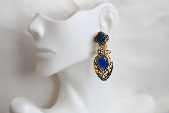 Blue Victorian CZ Earring - AristaBeads Jewelry - 2