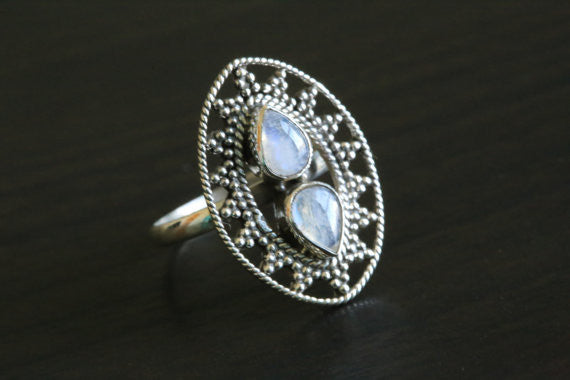 925 Sterling Silver Moonstone Ring, US 9 - AristaBeads Jewelry - 3