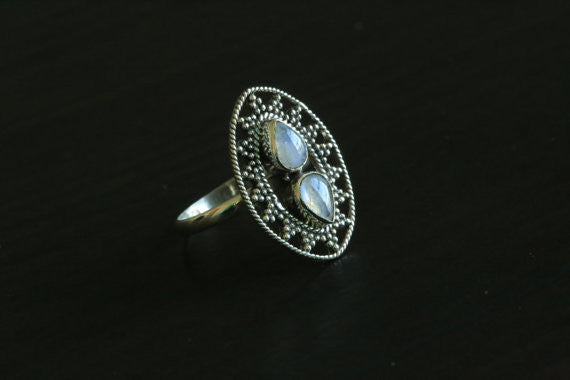 925 Sterling Silver Moonstone Ring, US 9 - AristaBeads Jewelry - 4